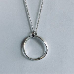 Sterling Silver Wavy Circle Pendant Italy 925 New